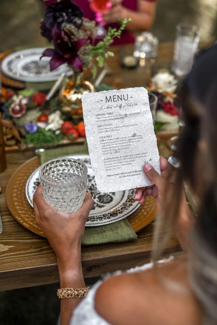Trestle's Edge Reception Menu and Table