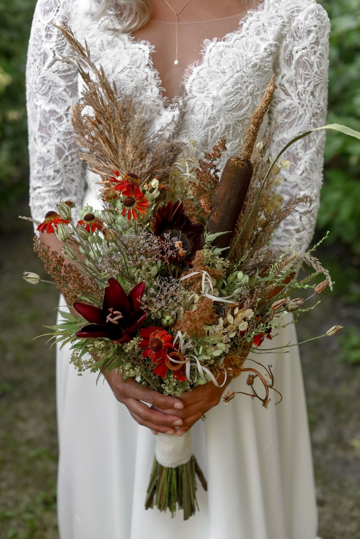 Brideal Bouquet of local blooms and dried grasses