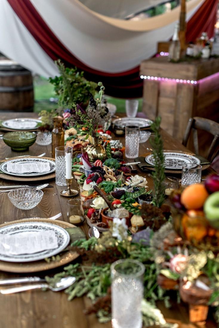 Trestle;s Edge Eco Inspiration edible centerpiece down reception table