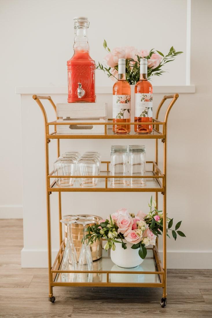DIY Floral Crown Workshop Bridal Shower Wine Station with blush pink flowers