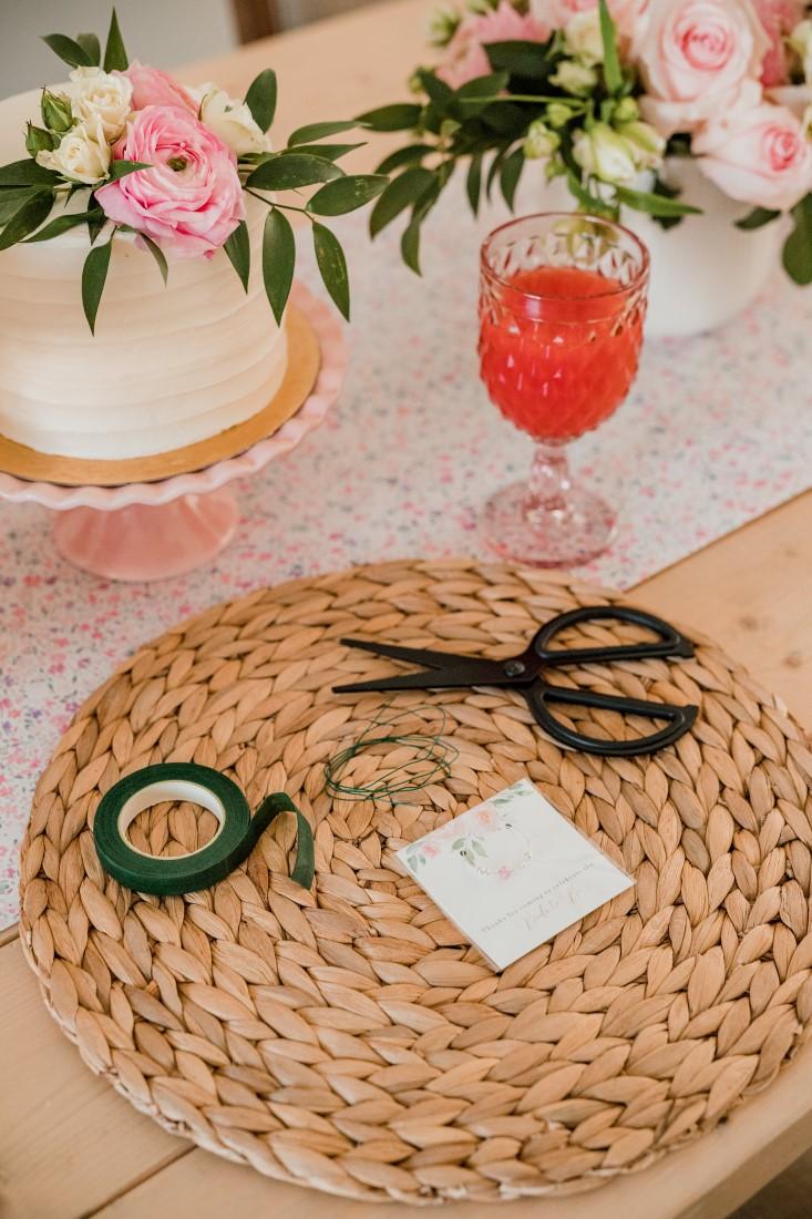 DIY Floral Crown Workshop Bridal Shower supplies wire, floral tape and scissors