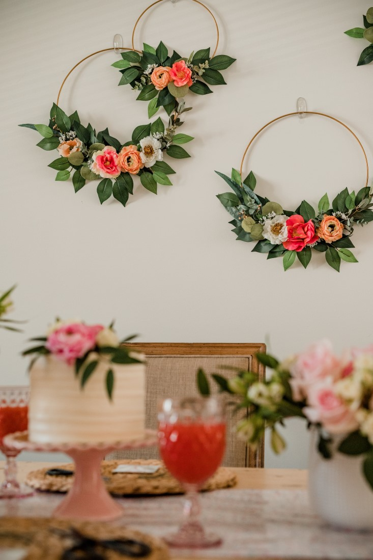 Flower Hoops, cake, champagne and flowers at bridal shower in Vancouver