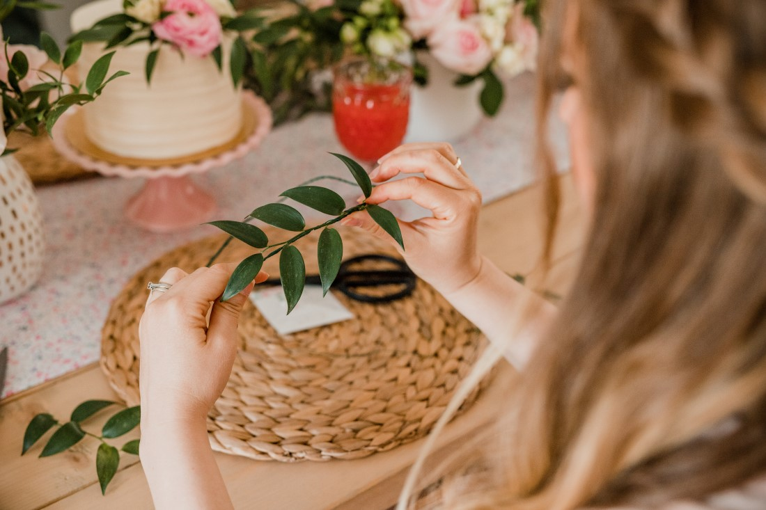 Bridal Shower guest makes floral crown by hand in Vancouver