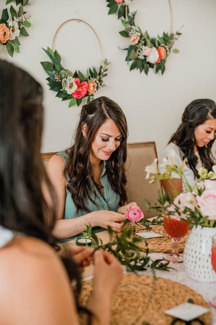 DIY Floral Crown Workshop Bridal Shower by Hand Lettered Love Vancouver