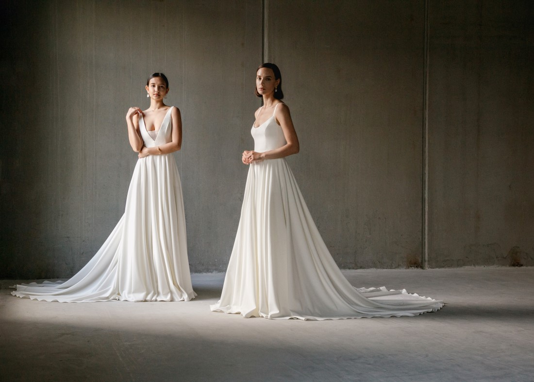 Aesling brides in minimalist gowns designed in Vancouver