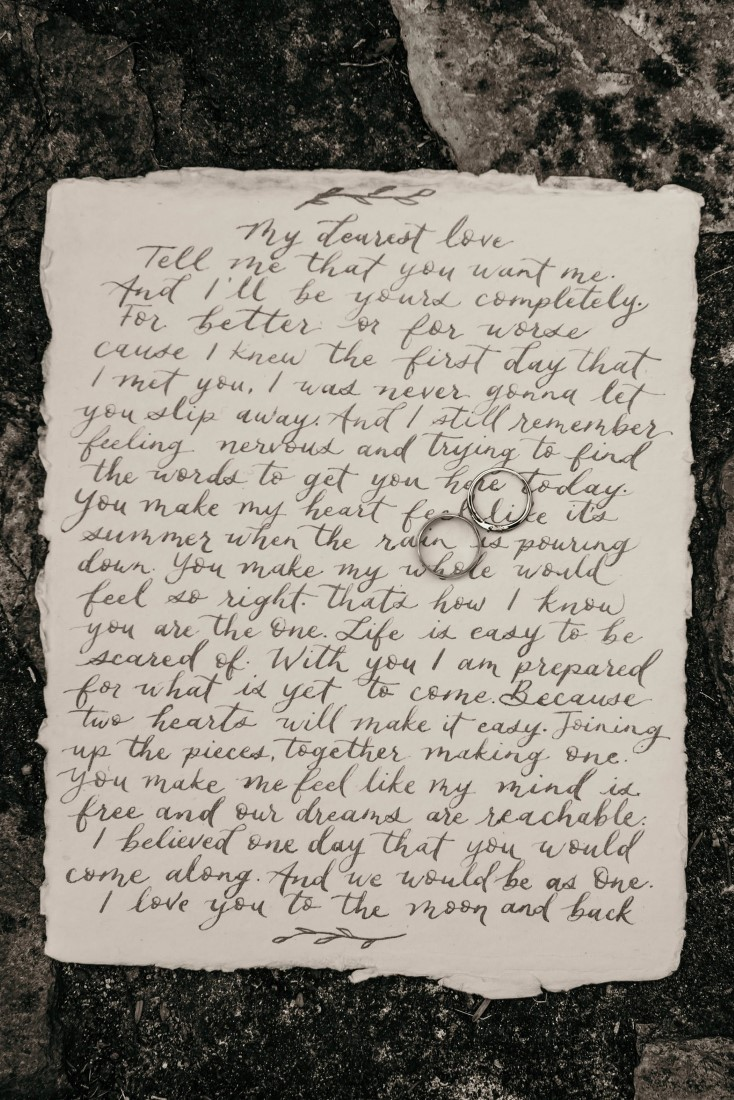 Handwritten Vows and Rings at Covid-19 wedding on Vancouver Island
