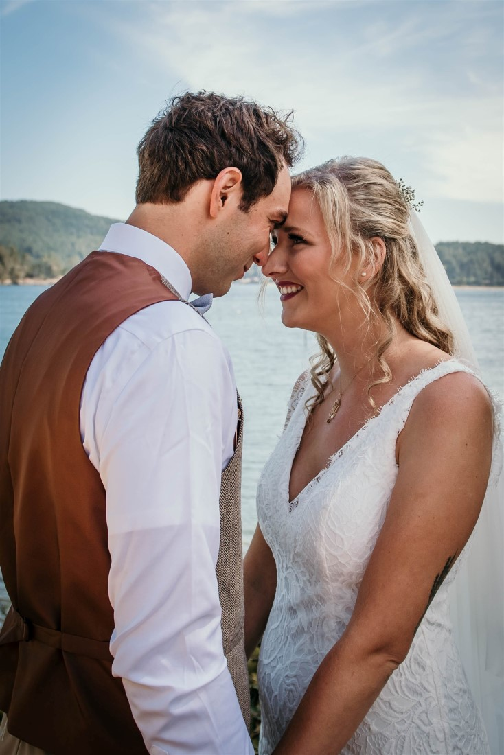 First Look for Bride and Groom at oceanside home on Vancouver Island