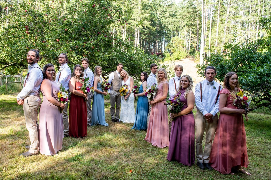 Social Distance Wedding Guests in forest on Vancouver Island