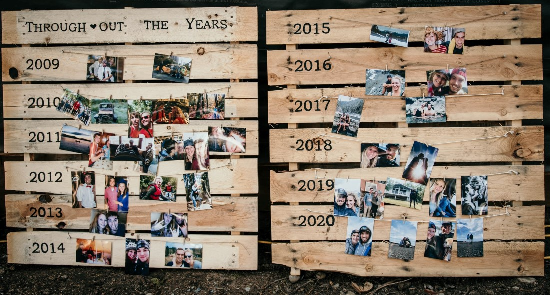 Wedding Relationship Timeline with Photos on Wood