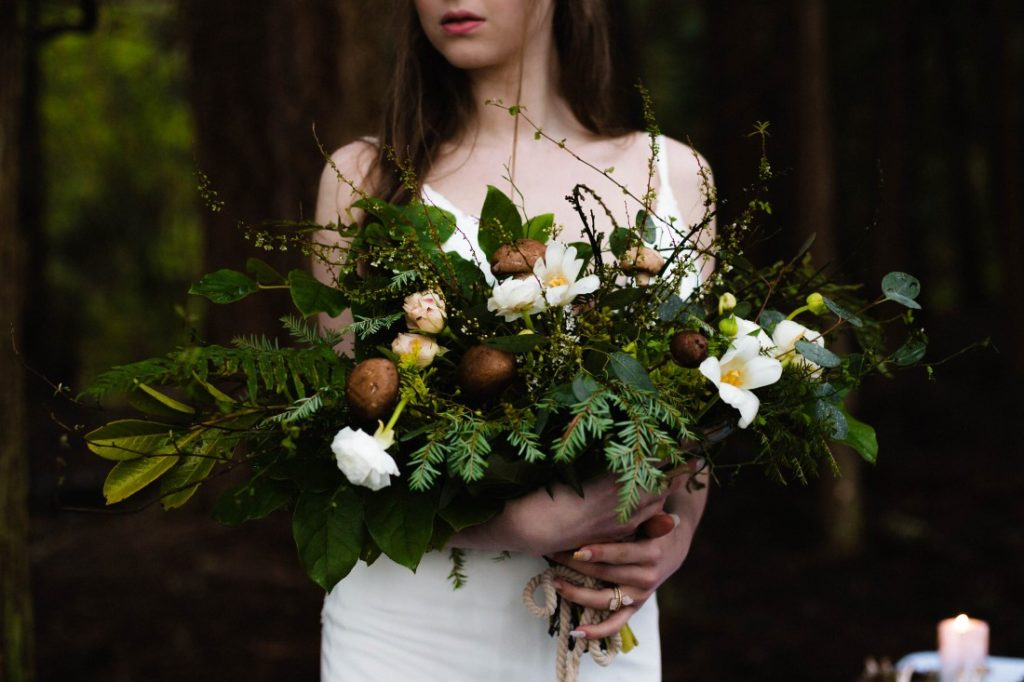 Bridal bouquet of mushrooms, greenery and white flowers by Stemistry Vancouver