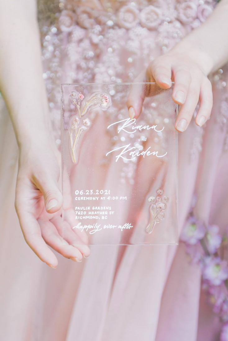 Paper Suite translucent invitations by Rintzylee Designs Vancouver