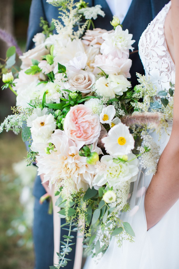 White and blush pink cascading bouquet by Vancouver Florists