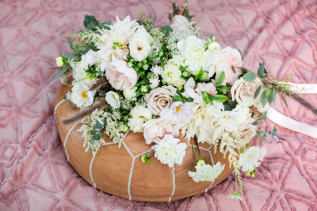 Floral Arrangement for wedding of white flowers by Vancouver Florist
