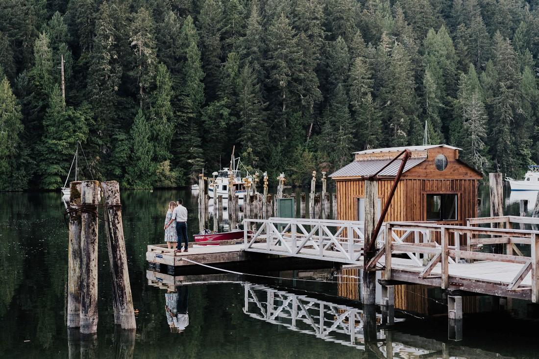 Engaged Romance Pier Shot on Vancouver Island