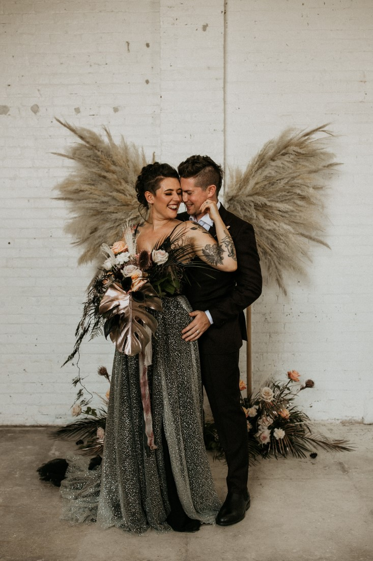 Bride and Groom industrial chic theme by Secret Waters Photography