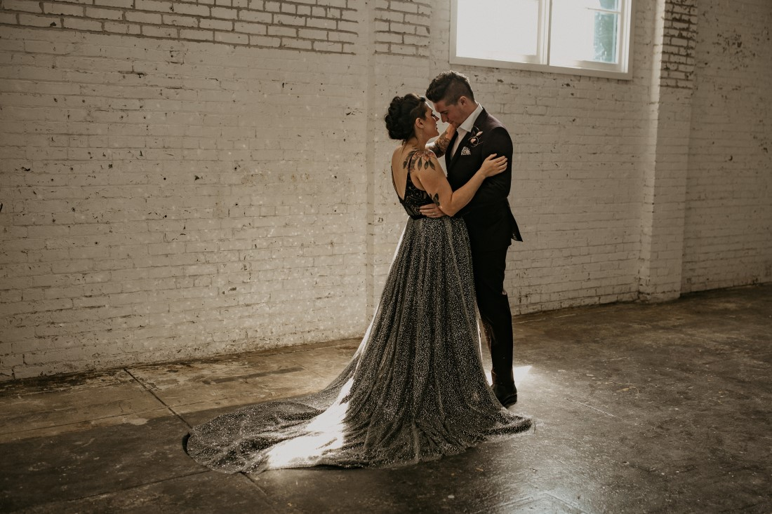 Newlyweds first dance in vintage industrial venue Powerhouse on Vancouver Island