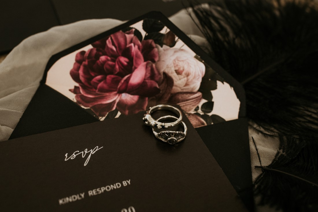 Industrial Chic Black Wedding Invite by Studio 745 with rings by Emma Glover