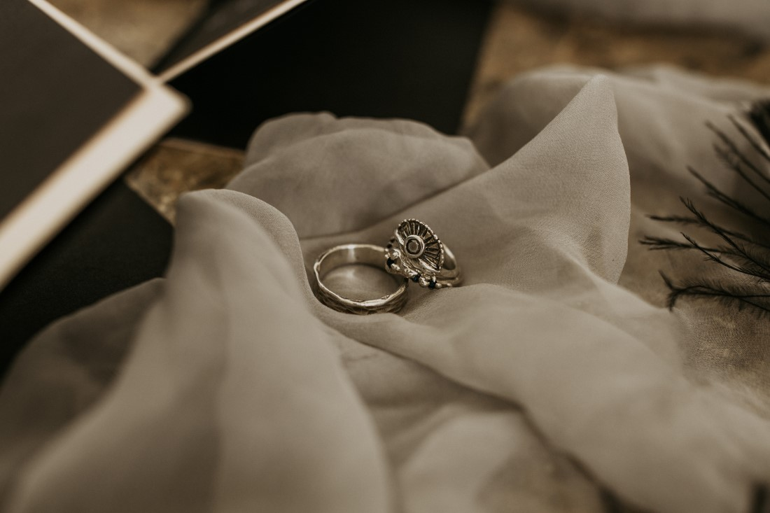 Sweet and Sexy Industrial Glam Wedding Rings by Emma Glover
