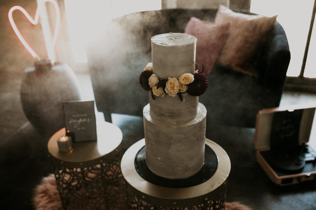 Grey Industrial Chic Wedding Cake by Julys Girl Cake Co Vancouver Island