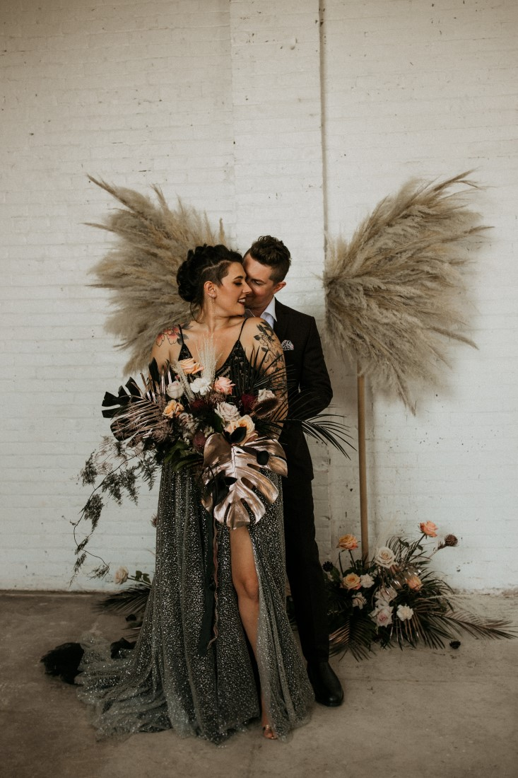 Industrial Chic Wedding flowers by Bespoke Blossoms Vancouver Island