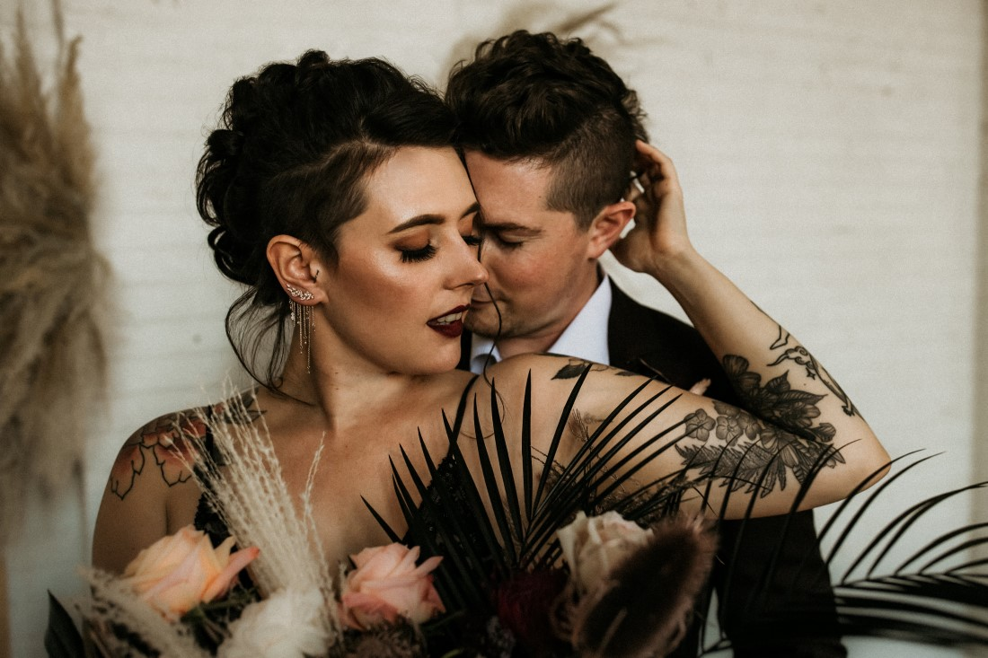 Sweet and Sexy Industrial Glam Bride and Groom by Secret Waters Photography