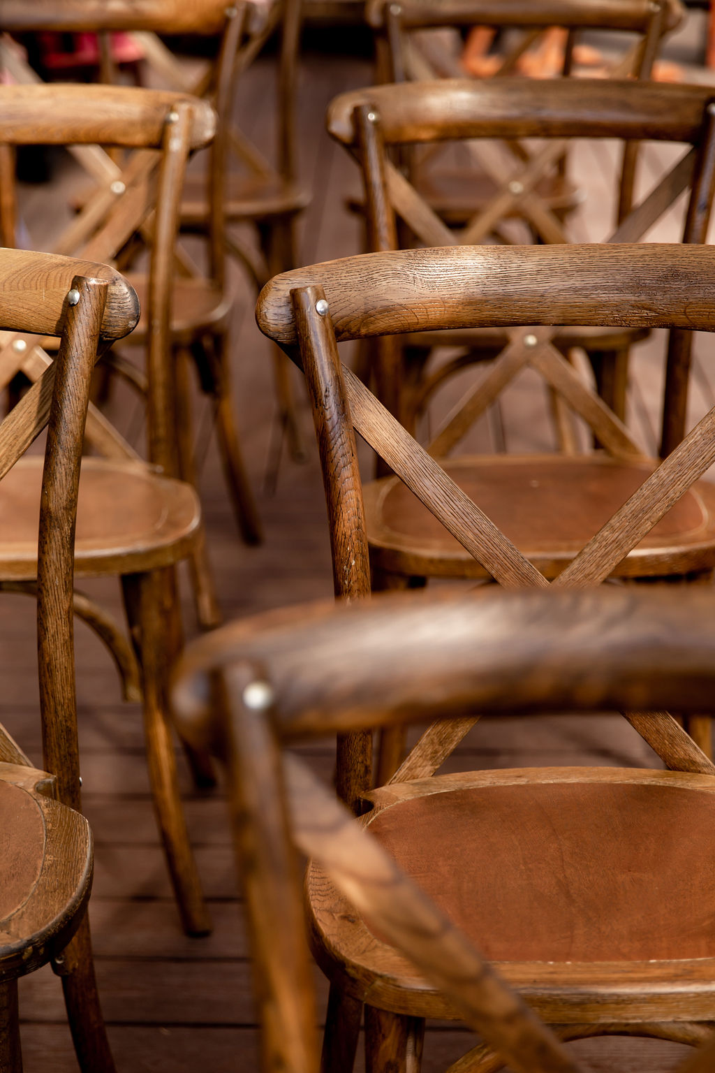 Wood chairs at outdoor ceremony at Pacific Gateway Hotel Vancouver
