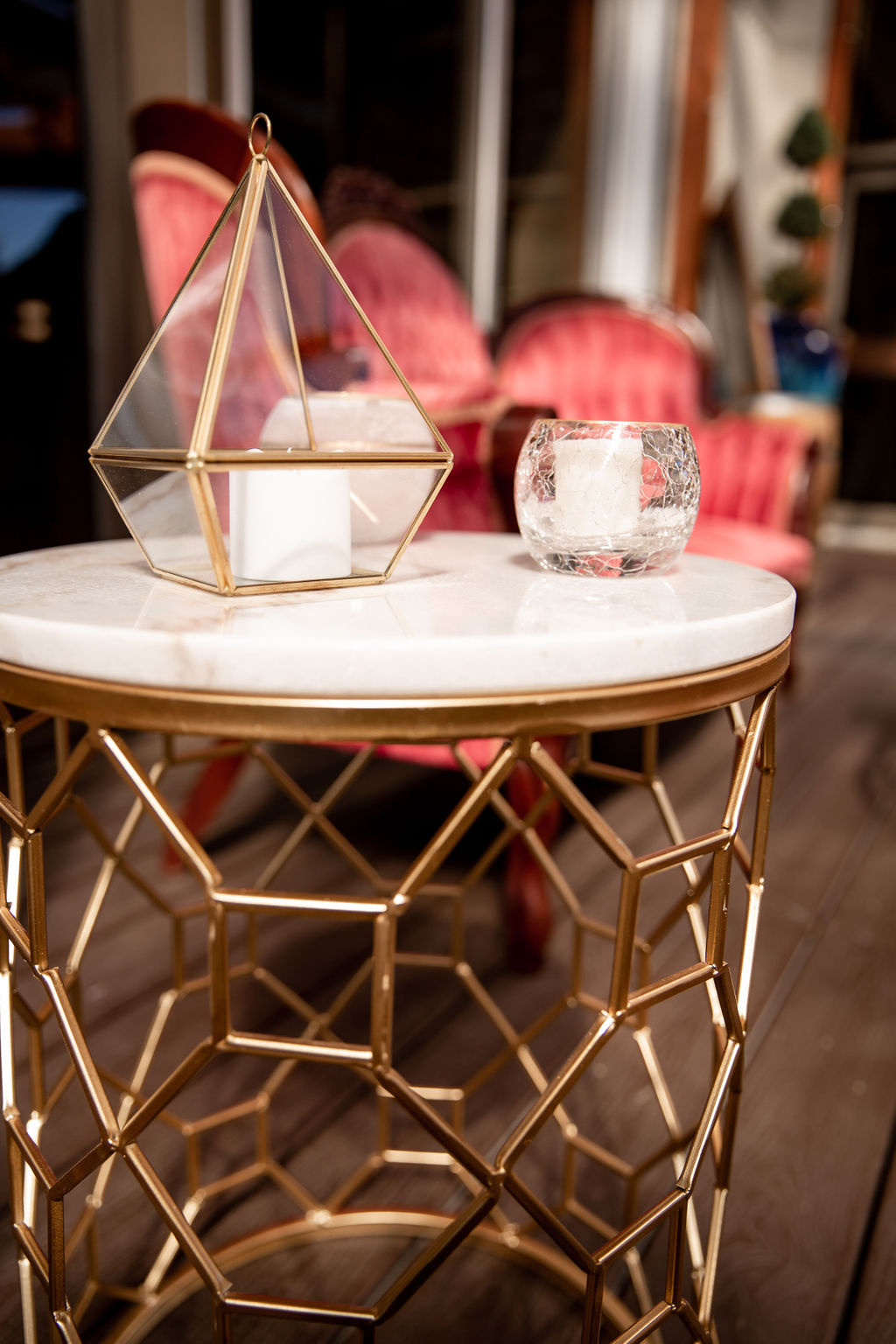 Coner table with pink florals at Pacific Gateway Vancouver