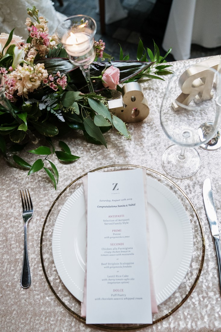Garden Castle Wedding Reception at Zambris table