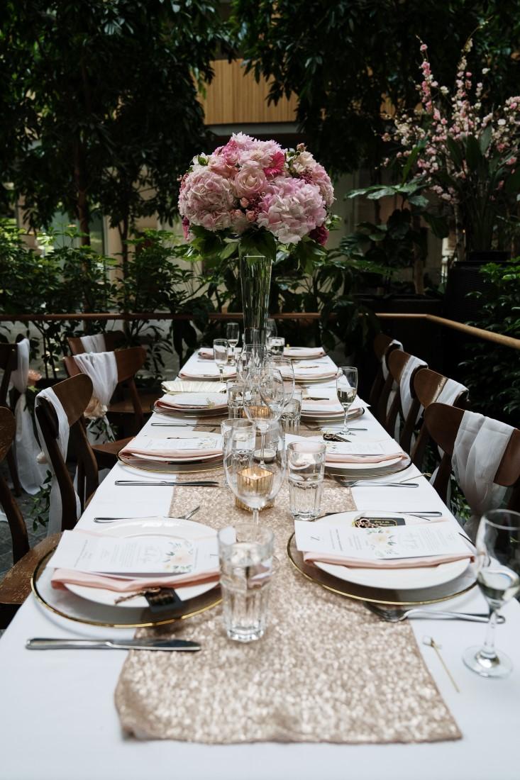 Wedding Reception Long Table at Zambris Vancouver Island