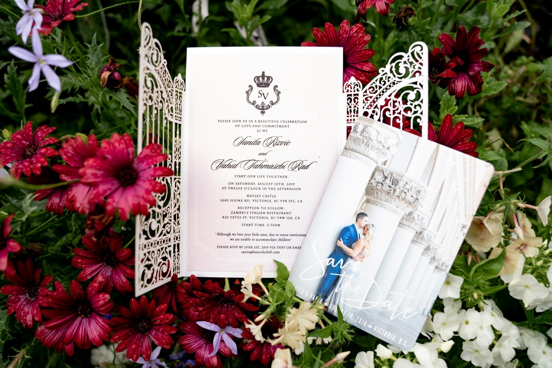 Paper Suite wedding invite with castle gates