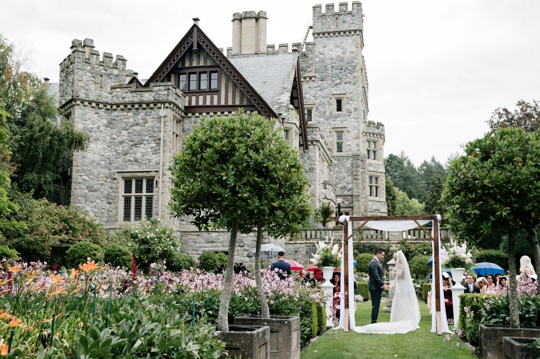 Hatley Castle Wedding Ceremony in the gardens on Vancouver Island