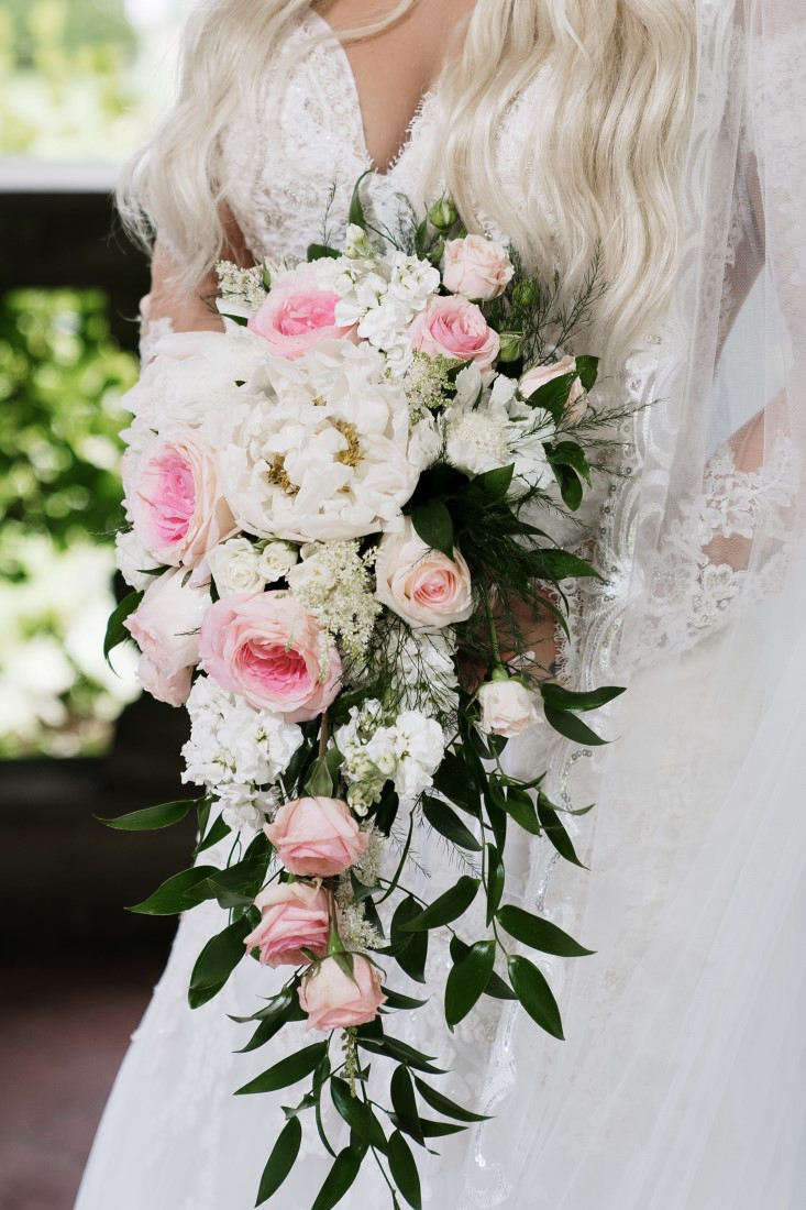 Blush pink and white rose bridal bouquet by Jennings Florist Vancouver Island