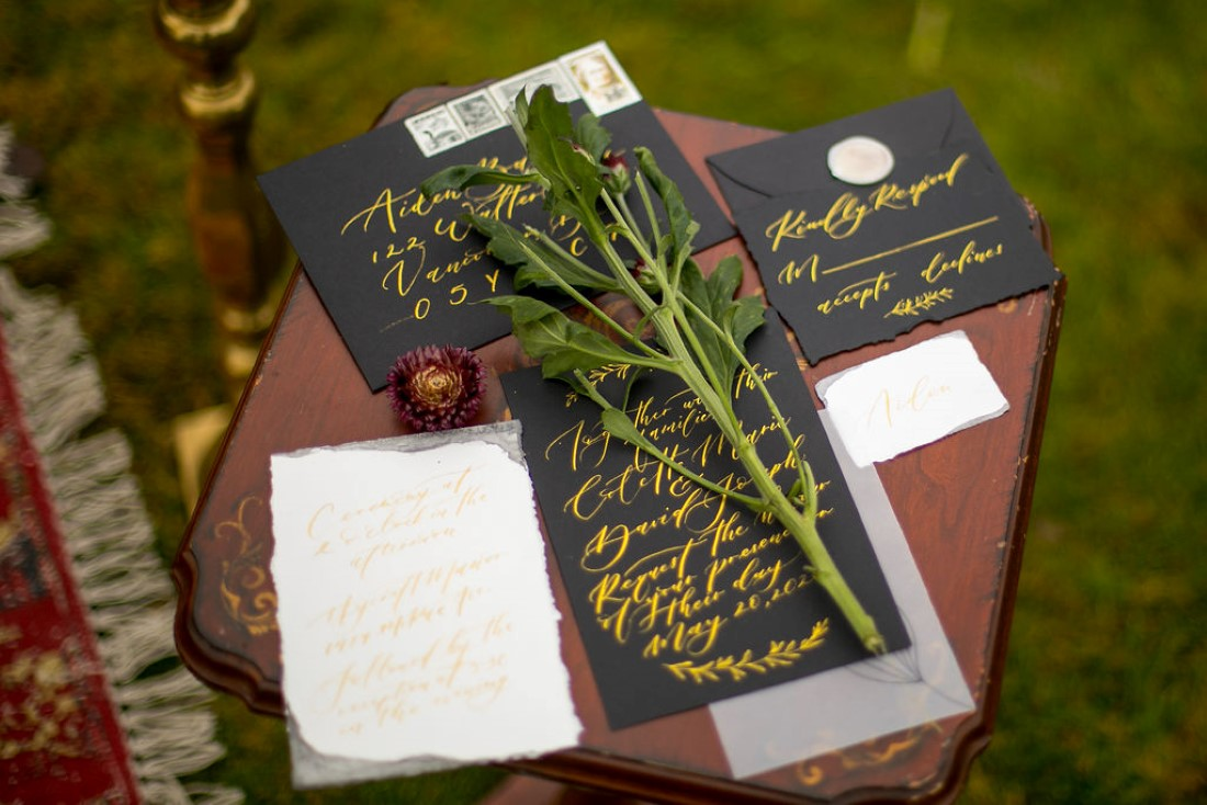 Breathtaking Wedding Beauty black invitation and paper suite calligraphy