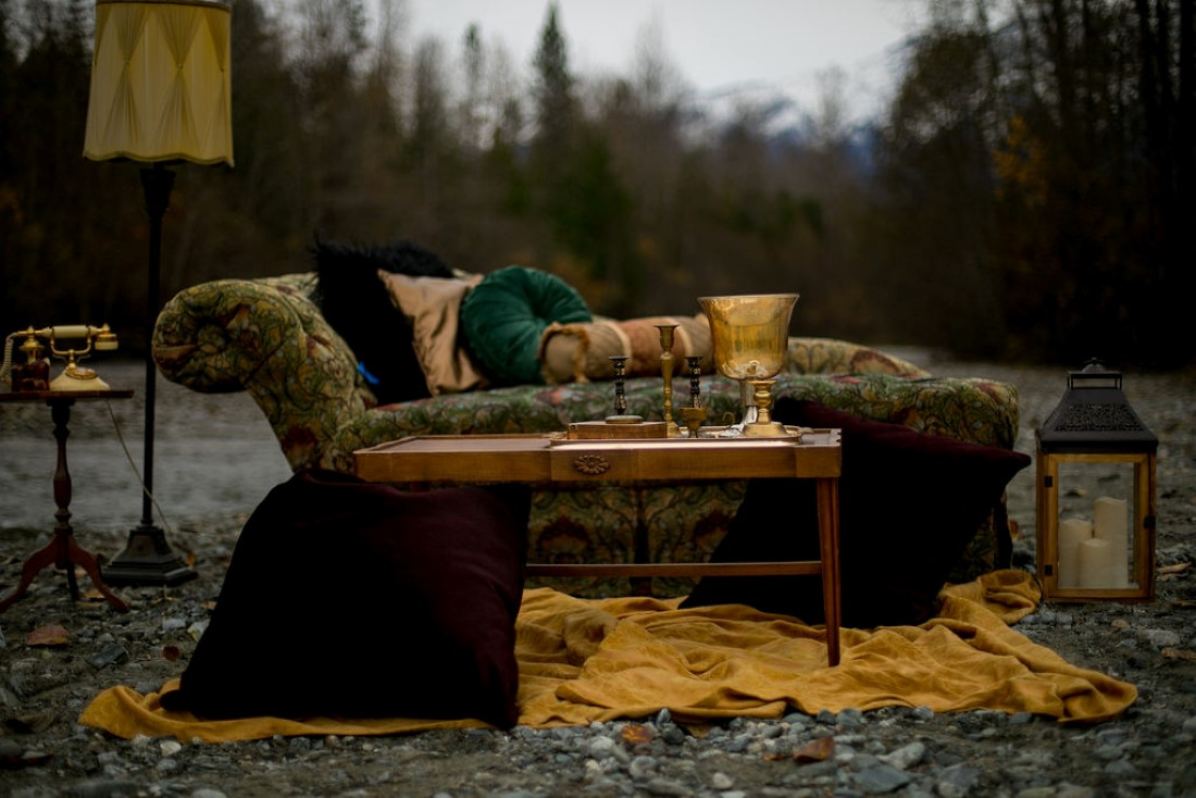 Furniture lounge on the side of the road in Pemberton wedding inspiration