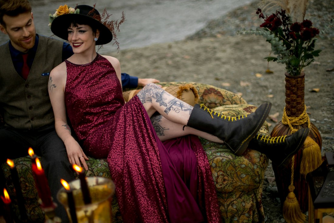 Bride wears burgundy gown and rubber boots for Whistler wedding