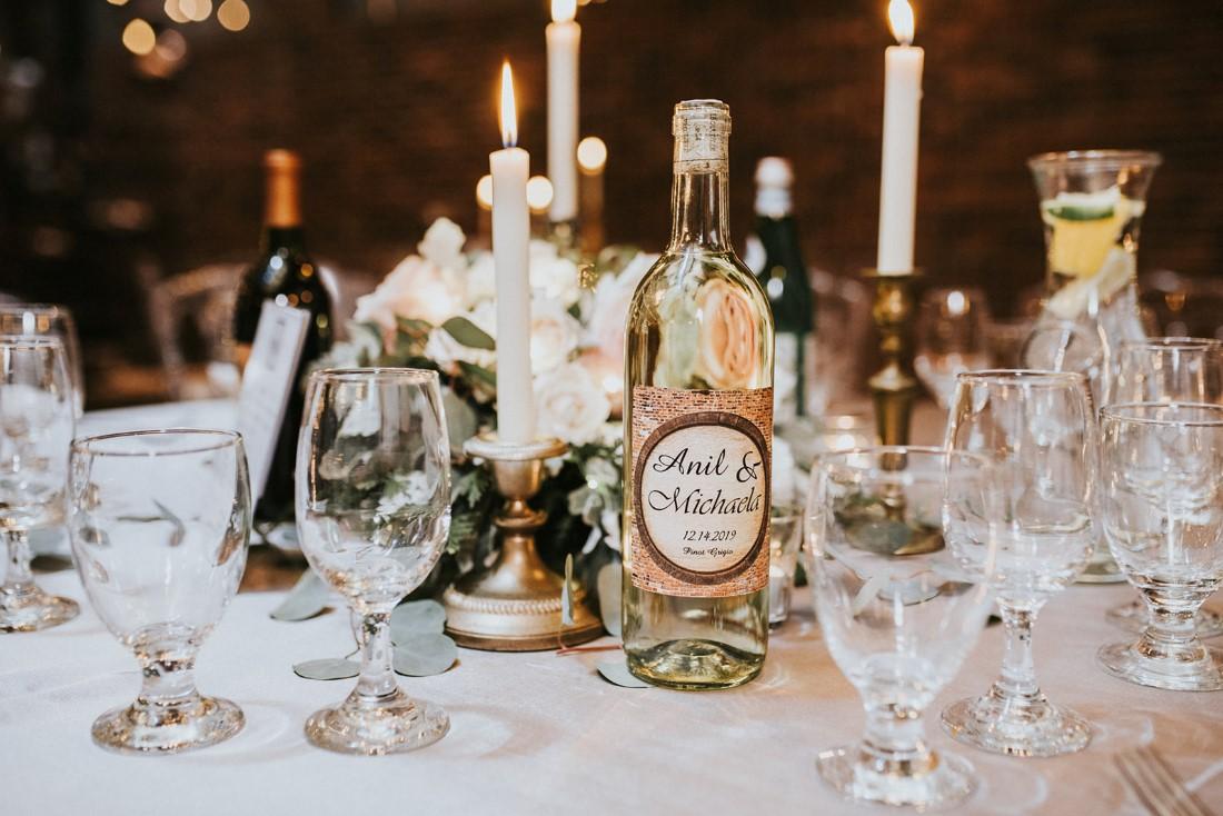 Urban Fairytale Reception Decor on table with vintage candlesticks