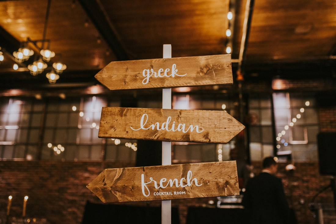 Reception venue sign with Greek, French and Indian food directions