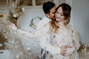 Astral Alignment Wedding Inspiration lovers embrace