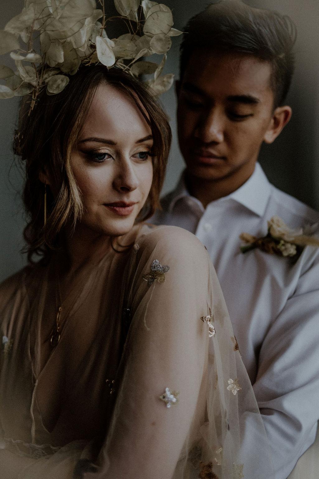 Astral Alighnment Wedding Inspiration newlyweds pose by Sarah England Photography