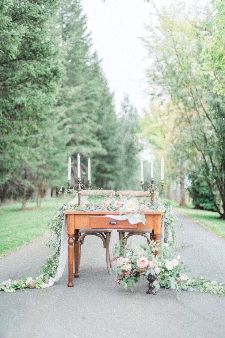 French country wedding table on road