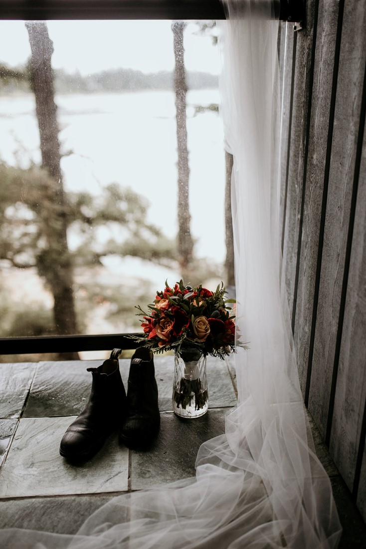 Tofino Vows wedding bouquet, boots and veil