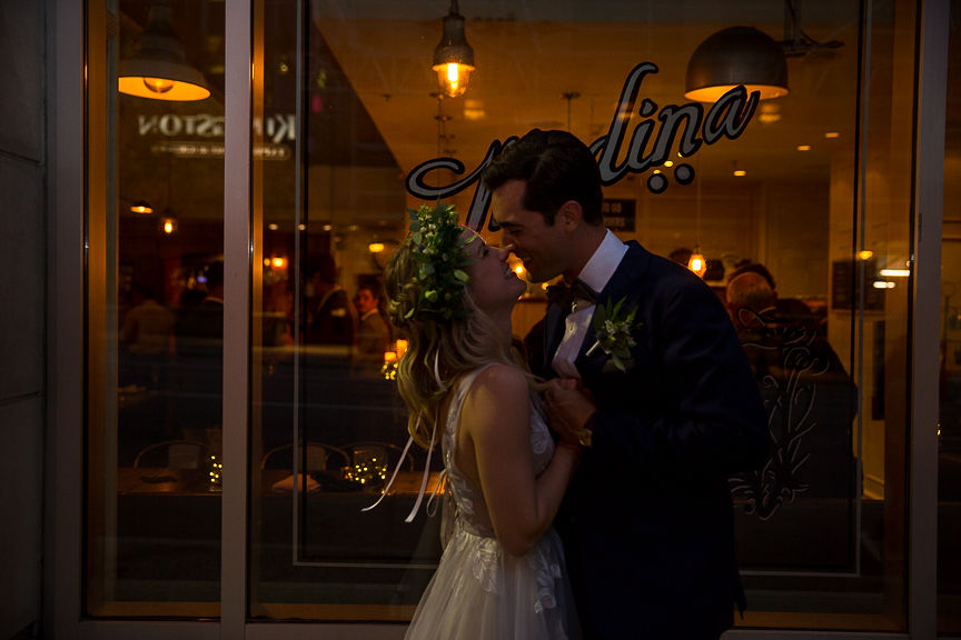 Newlyweds first dance under twinkle lights in Vancouver by Meghan Andrews Photography