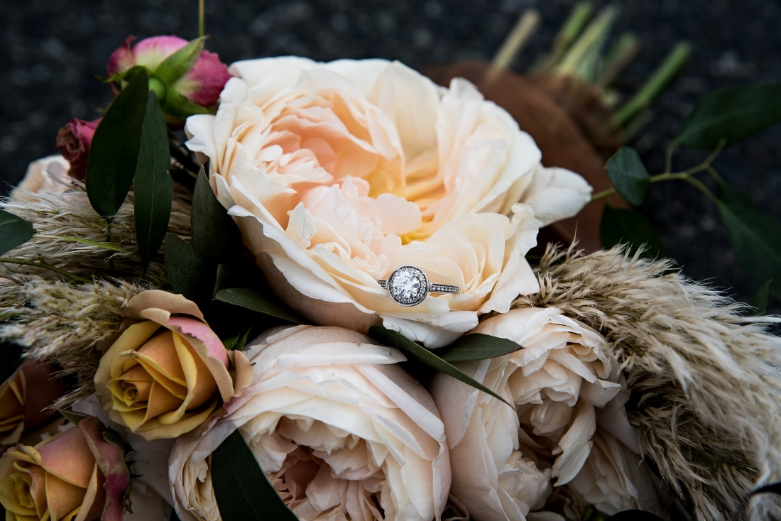 Bridal Bouquet of beige and gold roses with pampas grass