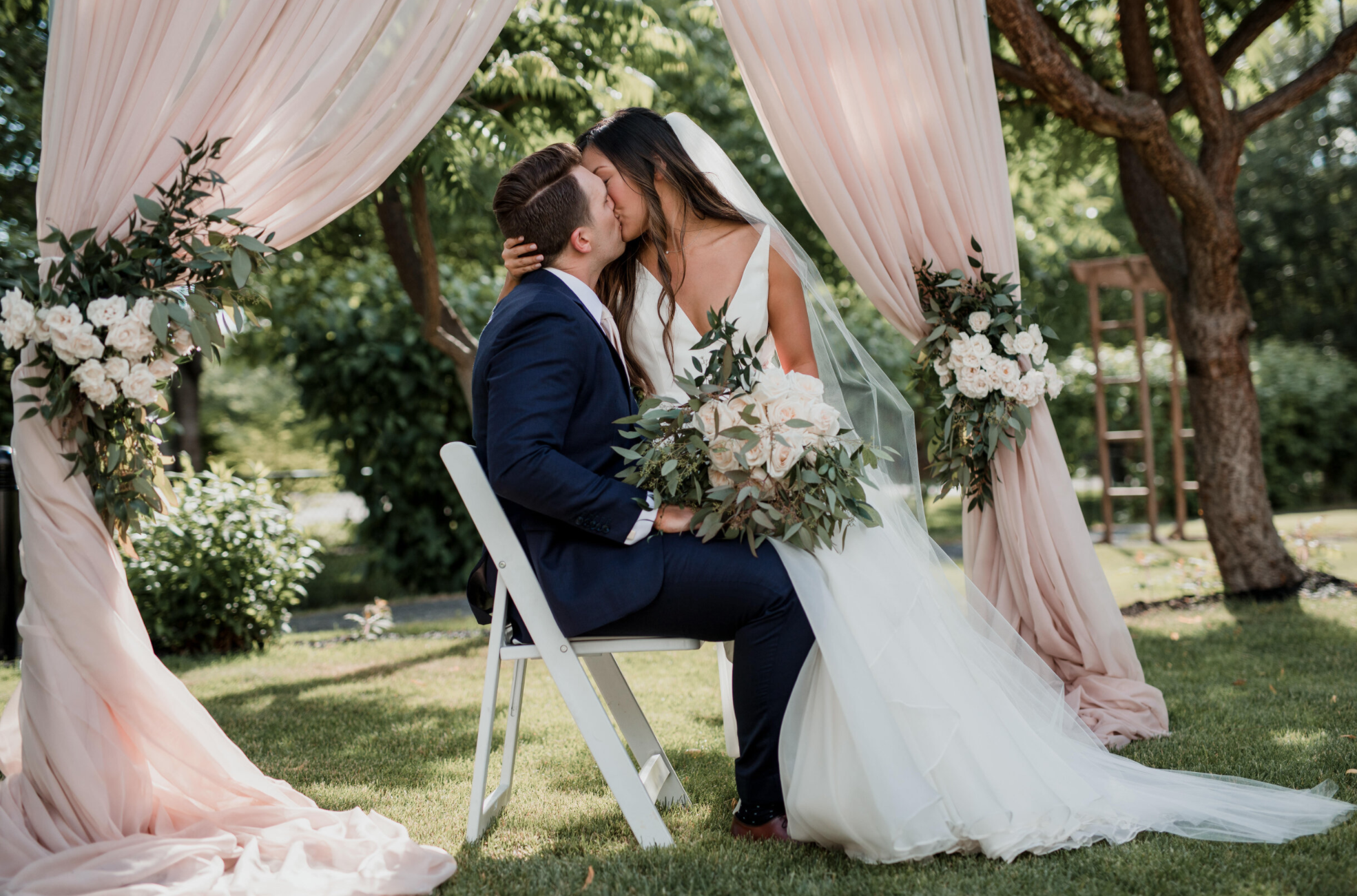Newlyweds kiss after ceremony in Okanagan Valley