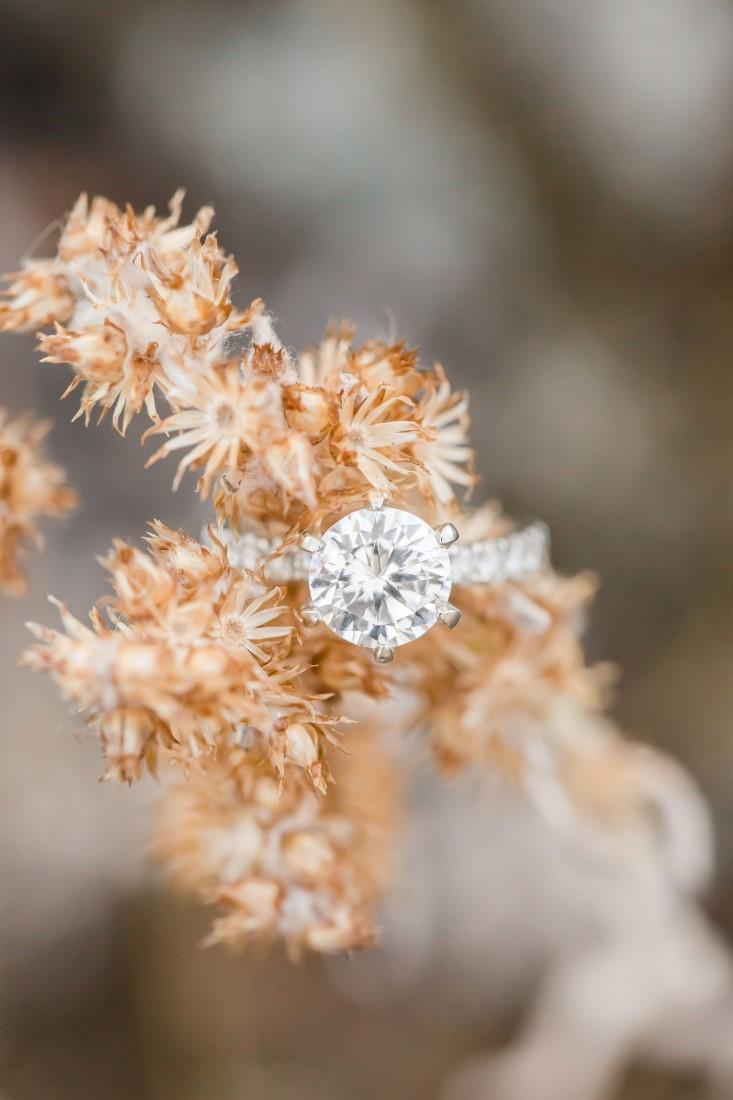 Diamond Engagement Ring sits on goldenrod