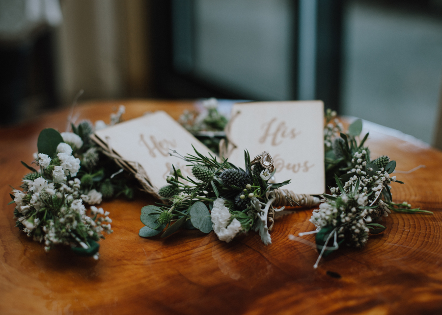 Flower wreath for bride sits on table by Campbell River Florists