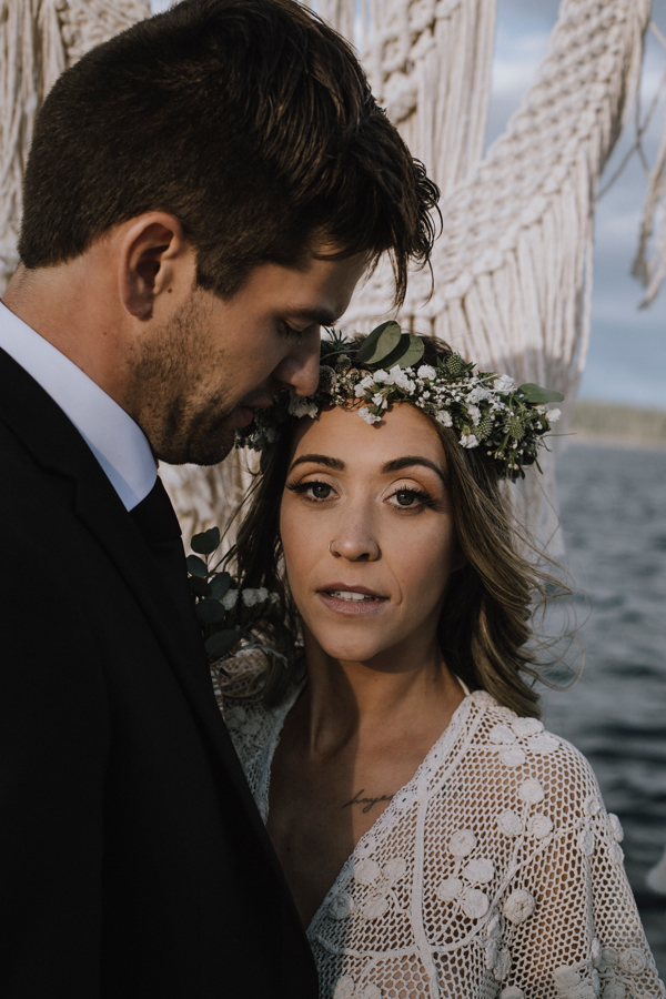 Bride wearing floral wreath and natural look by Kayla Rae Makeup Campbell River