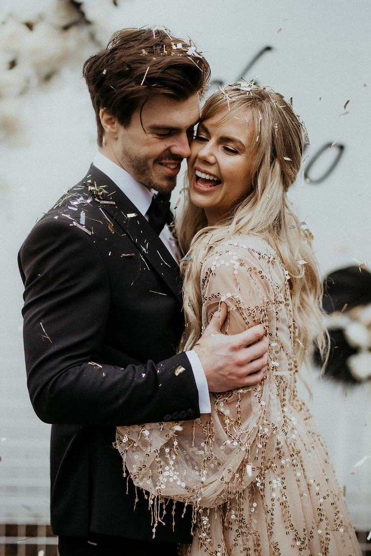 Romance & Champagne Kisses blush pink glitter gown and black tux and bow tie by Outlooks for Men
