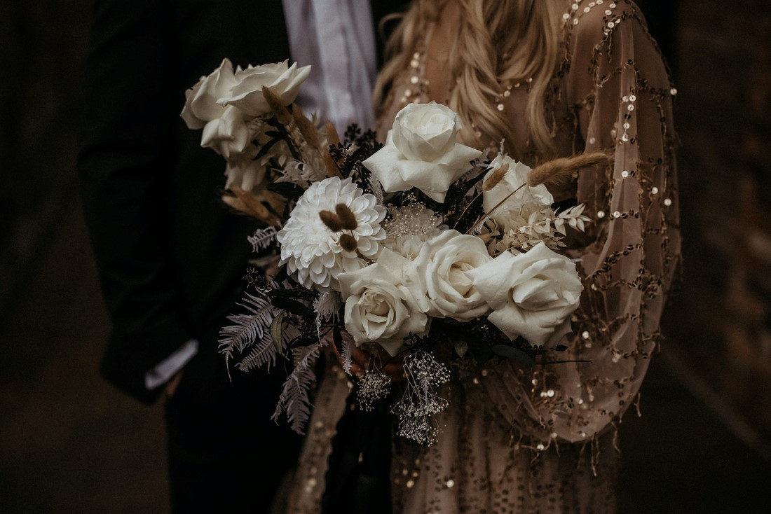 White rose bouquet by En Vied Event Vancouver Island