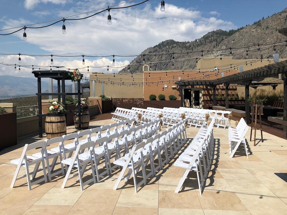 Ceremony chairs await wedding guests at Spriti Ridge British Columbia